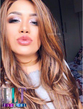 Peruca Lace Front Wig - MARCELA - Chocolate com luzes mel - Repartição Livre -PRONTA ENTREGA