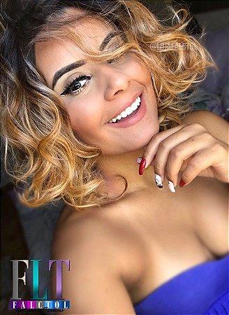 Wig fibra futura - Chanel com cachos - mechada - Beyoncé  - PRONTA ENTREGA