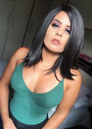CAROLINA FALCÃO -Lace Front wig chanel fibra Yaki - Castanho escuro  - PRONTA ENTREGA