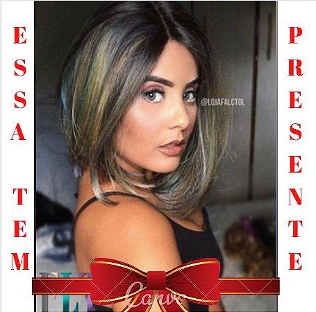 Peruca Lace front wig - Fibra + humano - Chanel -  Rainbow hair + PRESENTE