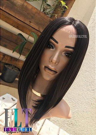 Lace front wig - Chanel de bico - Castanho escuro - Yaki - DIVA -  ENCOMENDA