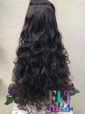 Aplique de tic tac cabelo sintético - Castanho Escuro Cacheado 3C 4A -  65cm - 120 gramas Tela G -PEQUENOS DEFEITOS