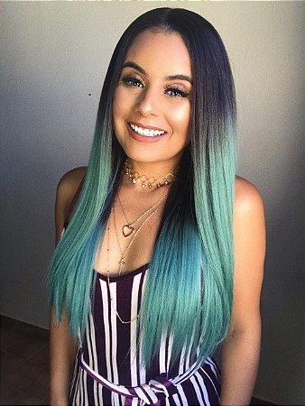 ULTIMA PEÇA -Peruca Lace front wig ombre verde - Yani - 55cm - PRONTA ENTREGA