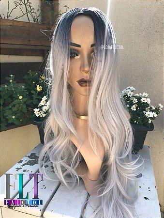 Wig peruca sintética 60cm lisa com cachos - Lya - Ombrê hair platinado - ENCOMENDA