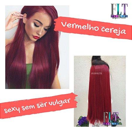 Aplique de tic tac cabelo sintetico liso  vermelho cereja  60cm