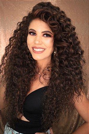 Peruca lace front wig cacheada Morgana 70cm repartição livre - Varias cores PRONTA ENTREGA