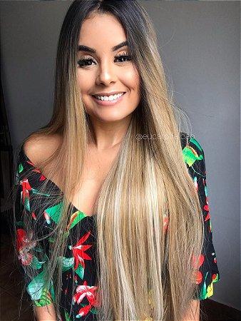 Peruca lace front wig Mirela 2 -  loiro mechado 80cm