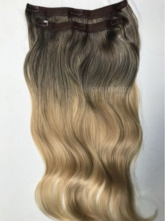 Aplique tic tac ombre hair  mel claro com raíz escura -  Linha Premium