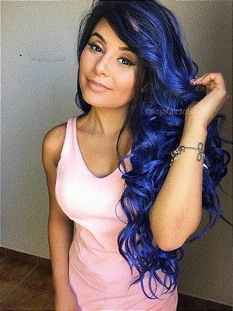 ULTIMA PEÇA - Peruca lace front wig cacheada azul escuro SUPER MONNY - PRONTA ENTREGA