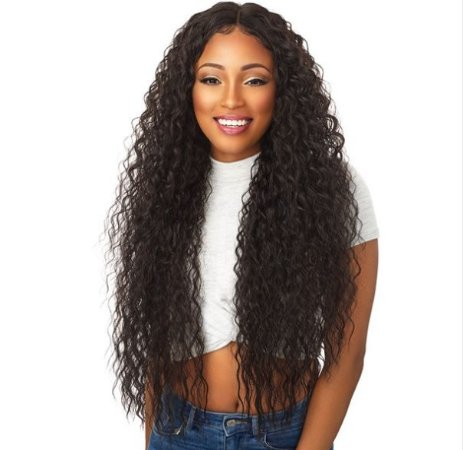 Peruca lace front wig cacheada 70cm - brooklym - Preta - PRONTA ENTREGA