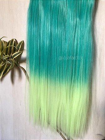 Aplique tic tac verde com ombre hair neon