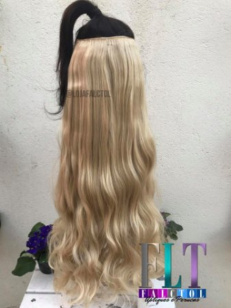 Aplique de tic tac cabelo sintético cacheado  Loiro Claro com Luzes  70cm