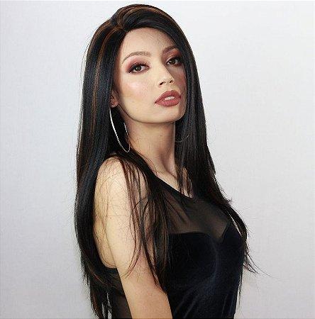 Peruca lace front wig repicada Rebecca Repartição Livre