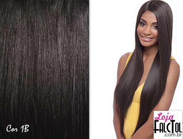 Peruca Lace front Wig Deep Invisible part Davisa- Preto natural 1b - ENCOMENDA