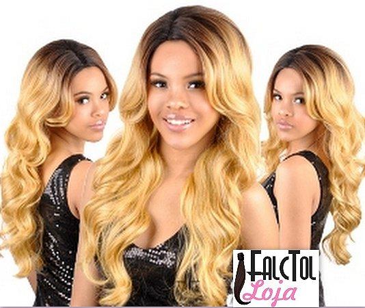 OUTRE Synthetic Lace Front Wig Paris - Castanho com ombrê loiro- ENCOMENDA