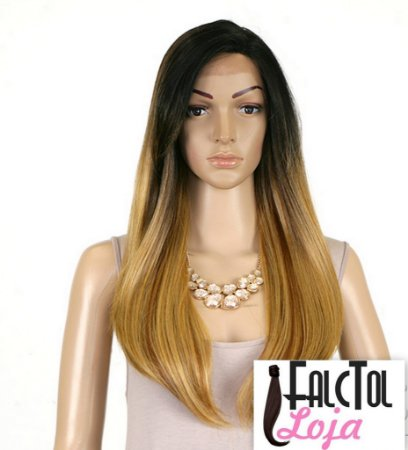 Model Model Synthetic Hair Lace Deep Invisible L Part Lace Front Wig - DAIJA - ombre loiro -ENCOMENDA