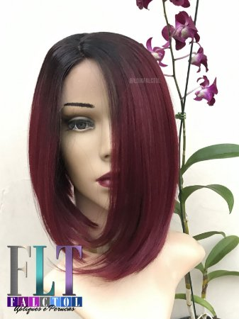 L Part Lace Front Wig  - Vermelha- Chanel de Bico - Encomenda