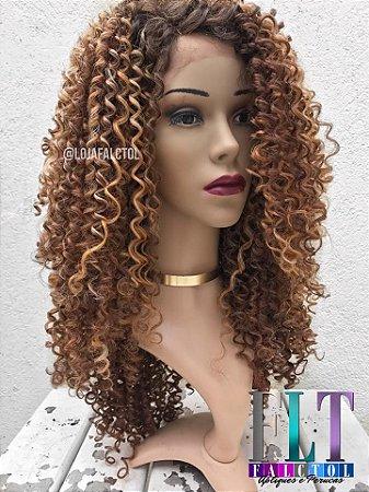 Peruca Lace front wig cacheada média cachos 3C - ENCOMENDA