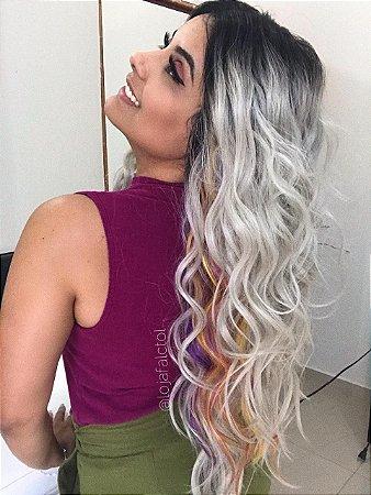 Peruca lace front wig cachegada com mechas coloridas CHESSY