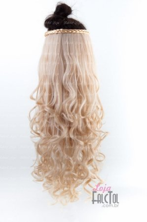 Aplique de tic tac cabelo sintético loiro clarissimo cacheado 70cm