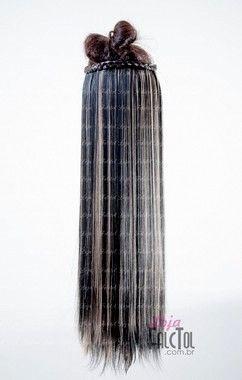 Aplique de tic tac - Preto 1b  com luzes Loiras -Liso - 65cm - 130gramas - Tela M