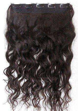 Aplique tic tac cabelo humano - Castanho escuro ondulado  - 50 cm 60cm ou 70cm - 1 Telas - 100gramas