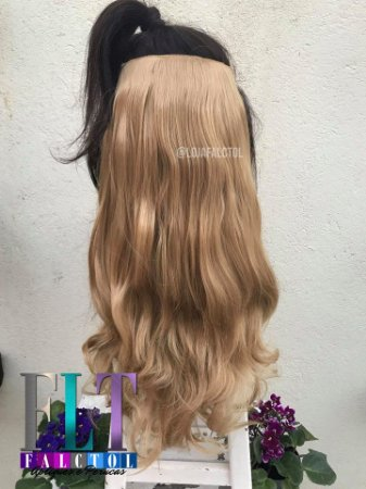 Aplique tic tac cabelo sintetico - Loiro dourado - Repicado - 60cm  - 120 Gramas