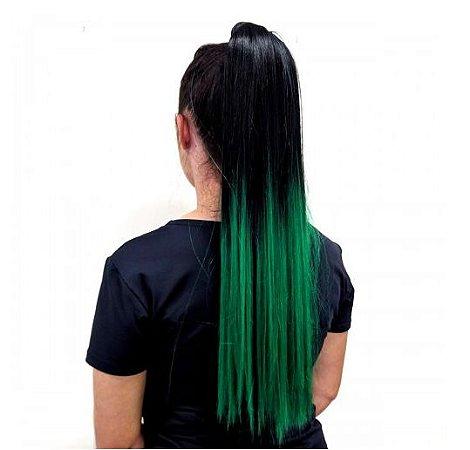 EDIÇÃO LIMITADA Aplique rabo de cavalo liso ombre hair azul