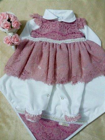 Saída de maternidade Vestido Rose