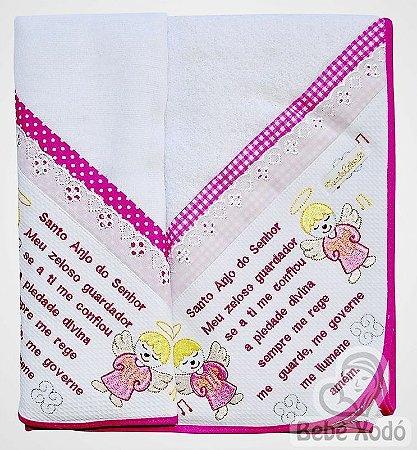 Jogo de Toalha 2 peças - Anjinhos Rosa Pink