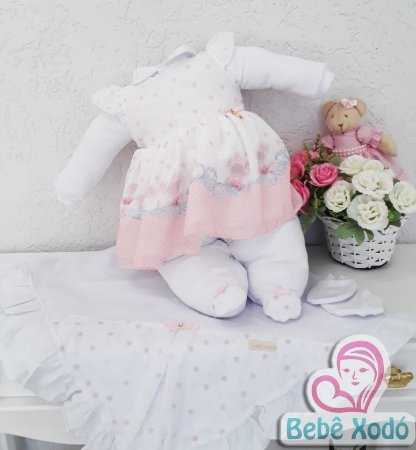 Saída de maternidade chifron rosa