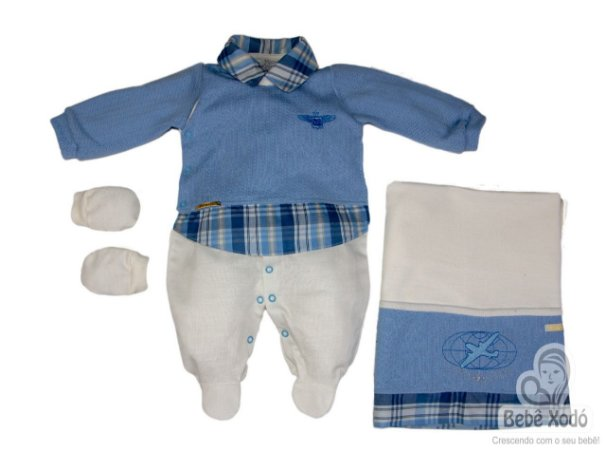 Saida de maternidade avião azul bebê