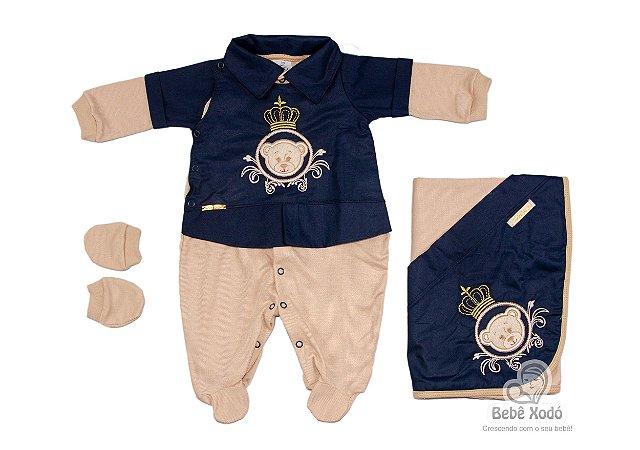 Saida Maternidade Ursinho Moldura Azul Marinho