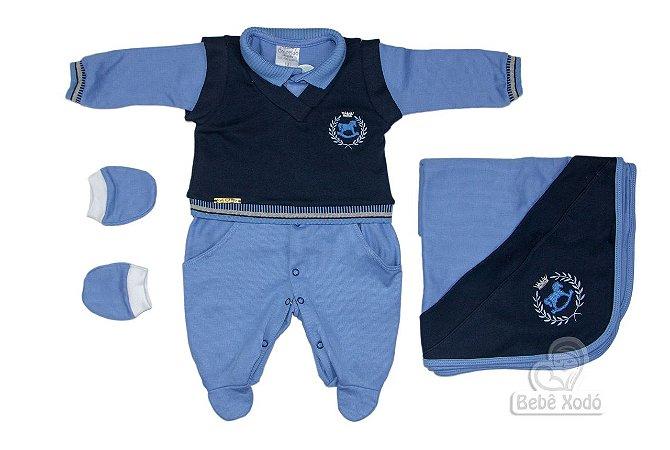 Saida de maternidade Cavalinho Azul bebê