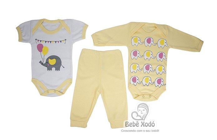 Body kit com 3 peças Elefantinho Amarelo