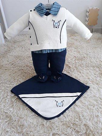 Saida de maternidade Cavalinho Azul marinho