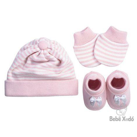 Kit em tricô - Sapato, luva e Touca Feminino