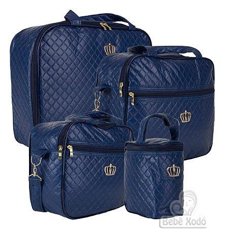 Conjunto de bolsas Madrid Azul Marinho- 4 peças