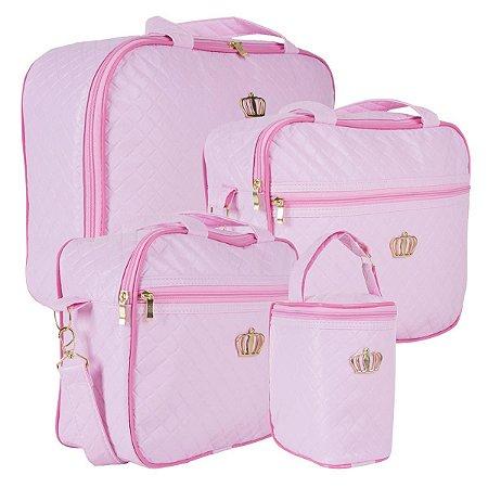 Conjunto de bolsas Madrid Rosa bebê - 4 Peças