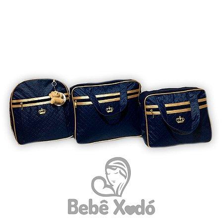 Kit Bolsa Com Mochila Azul Marinho