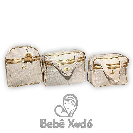 Kit Bolsa Com Mochila Bege