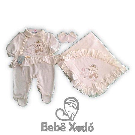 Saida de maternidade 3 peças Bordada Ursinha Marfim
