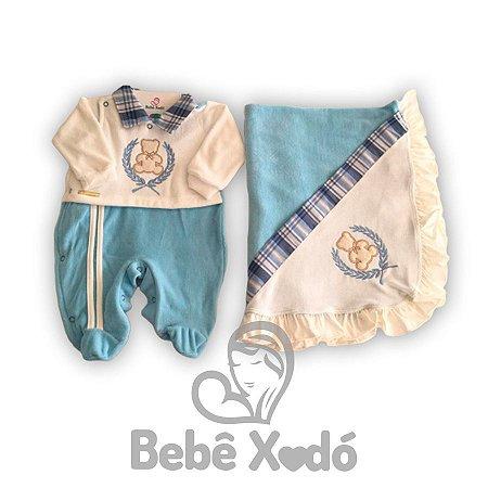 Saida Maternidade Ursinho Azul Bebê - Plush
