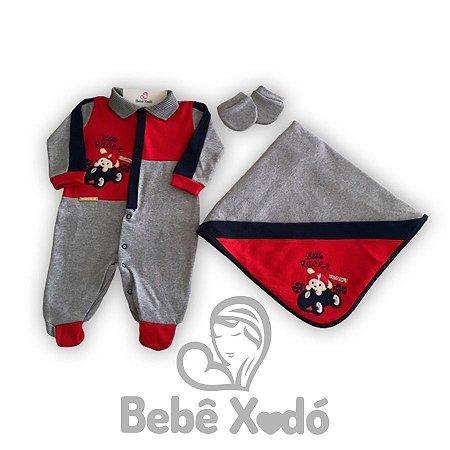 Saida Maternidade Carrinho de Corrida Cinza Com Vermelho- Plush