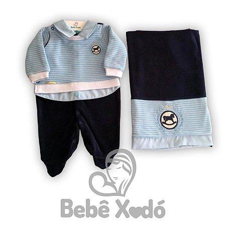Saida Maternidade Cavalinho Azul Bebê - Plush