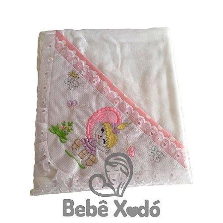 Toalha Fralda Bordada Rosa bebê