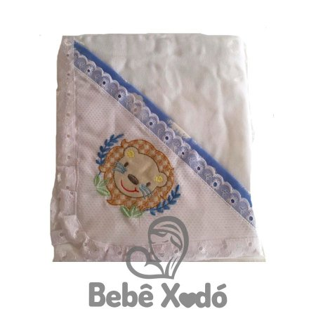 Toalha Fralda Bordada Marfim com Azul Bebê