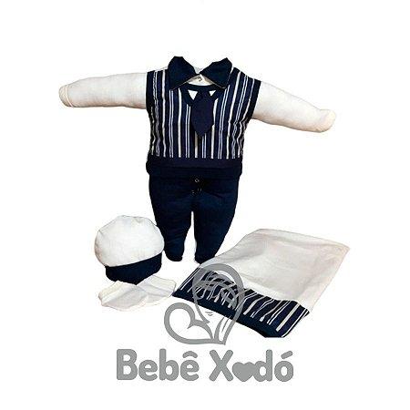 Saída Maternidade - Listras Azul Marinho