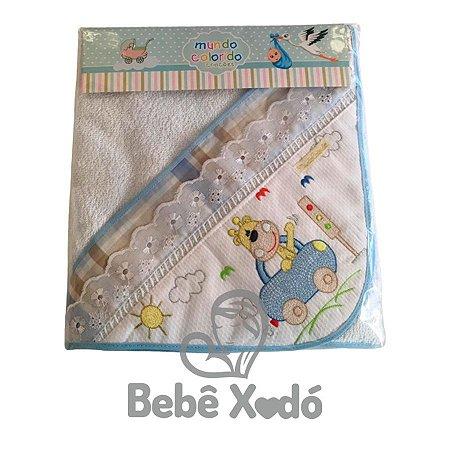 Toalha com Capuz Felpuda Azul bebê