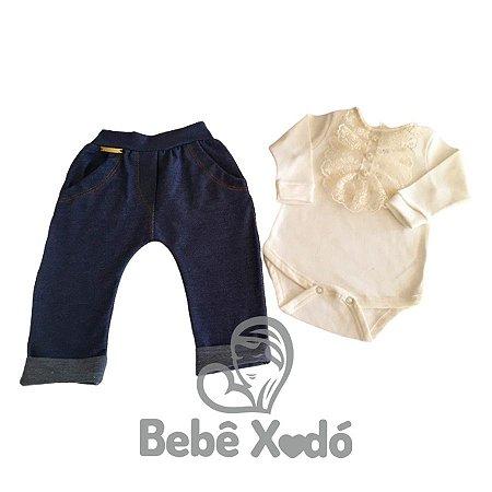 Conjunto Body e Calça - Tamanho Único Marfim